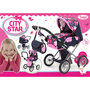 Bayer-Design poppenwagen city Star roze/blauw
